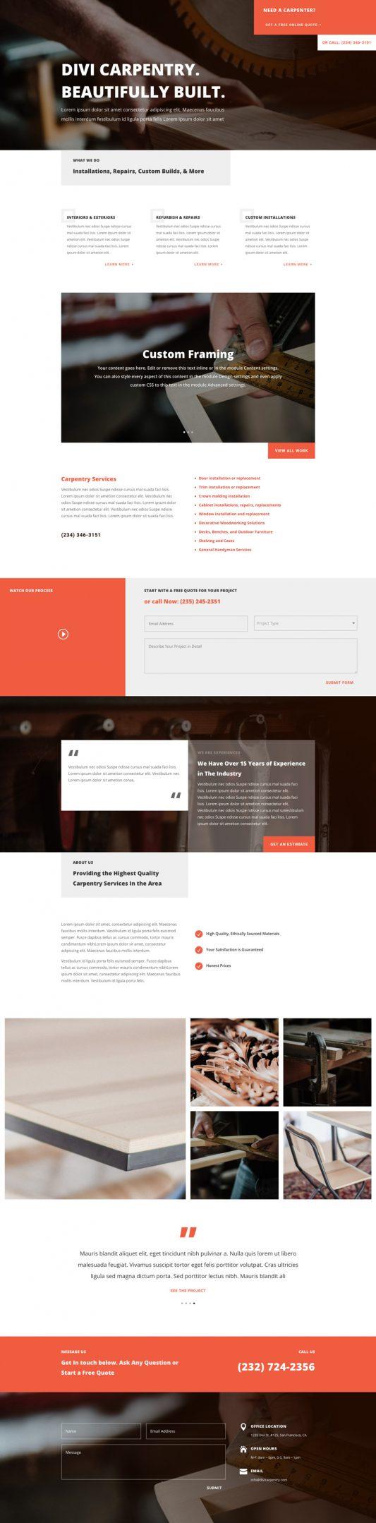 Elegant Themes - Divi - carpenter-landing-page-533x2158
