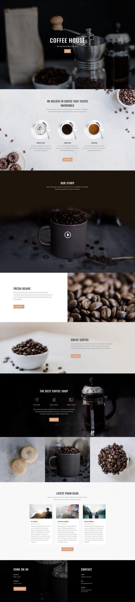 Elegant Themes - Divi-coffee-shop-landing-533x2367