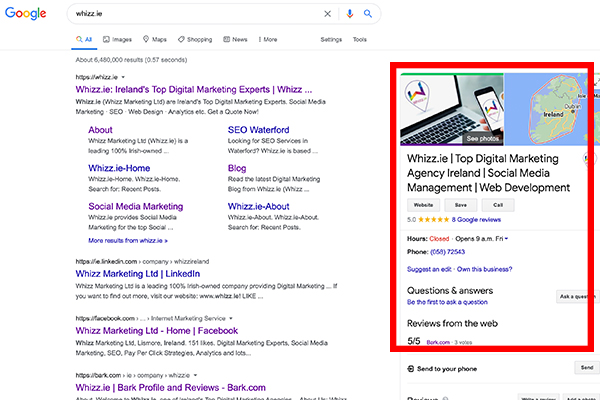 Google-My-Business-result of Whizz.ie